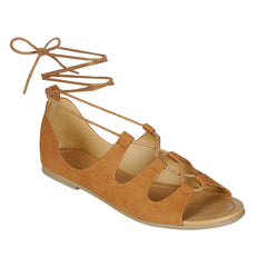 City Classified Open Toe Lace Up Flat in Tan
