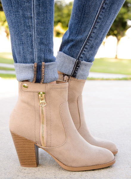 Western Ankle Zipper Embillshed Booties