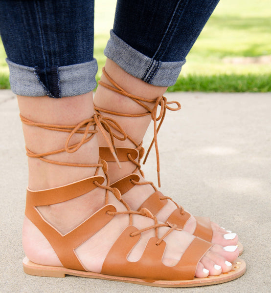 Gladiator Lace Up Open Toe Flat Sandals in Cognac Burnish