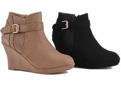Ankle Buckle Platform Wedge Boots