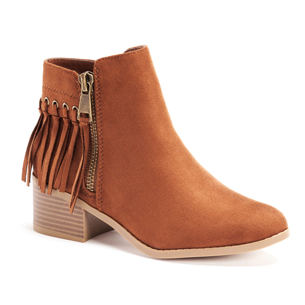 Suede Fringe Low Heel Ankle Boots