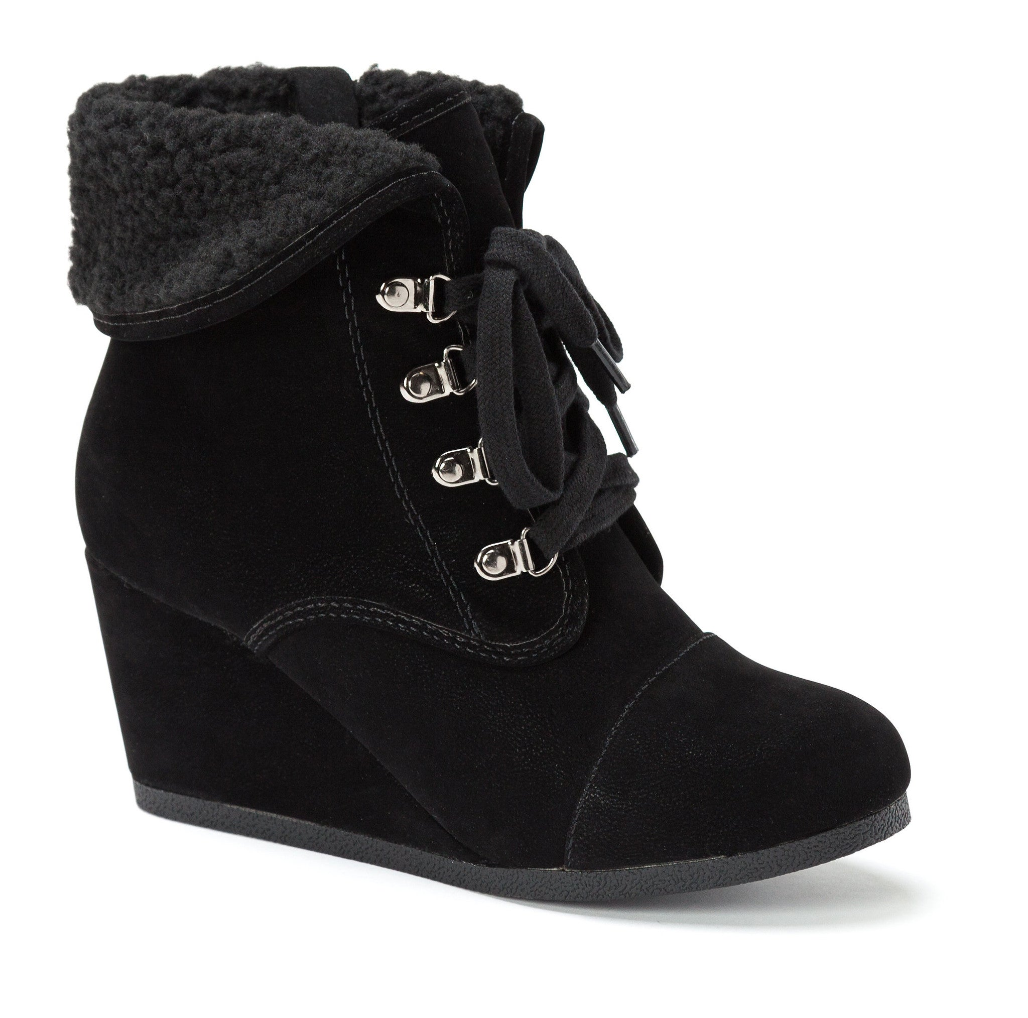 Fold Down Faux Shearling Cuff Ankle Boots