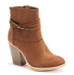 Perforated Suede Round Toe Chunky Heel Boots