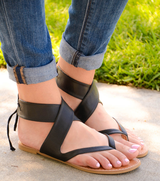 Ankle Lace Up Thong Sandal Black