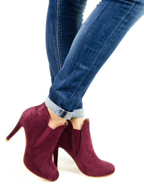 High Heel Round Toe Ankle Booties