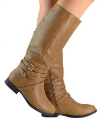 Strappy Buckle Knee High Boots