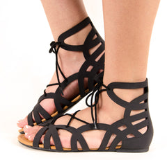 Gladiator Lace Up Flat Sandal In Black