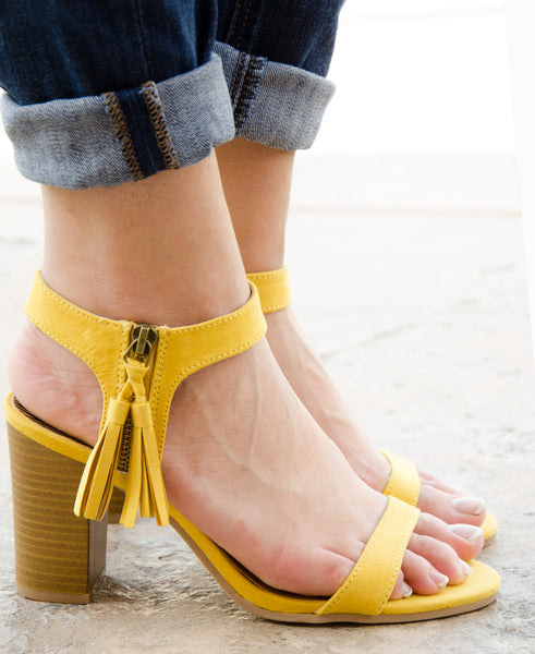 Suede Ankle Cuff Tassel Chunky Heel Sandal