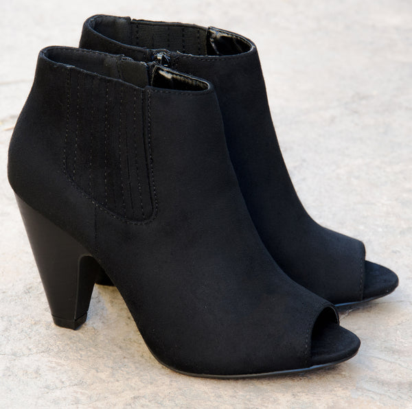 Ankle Open Toe Black Booties