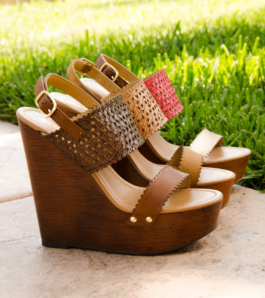 Perforated Faux Wood Platform Wedge Sandals