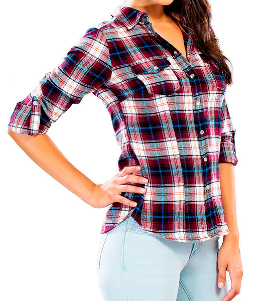 Plaid Roll Up Sleeve Button Down Shirt