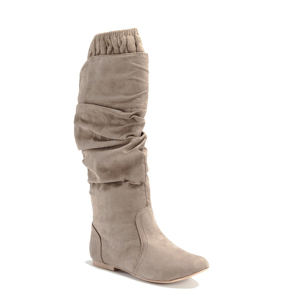 Knit Cuff Slouchy Suede Boots