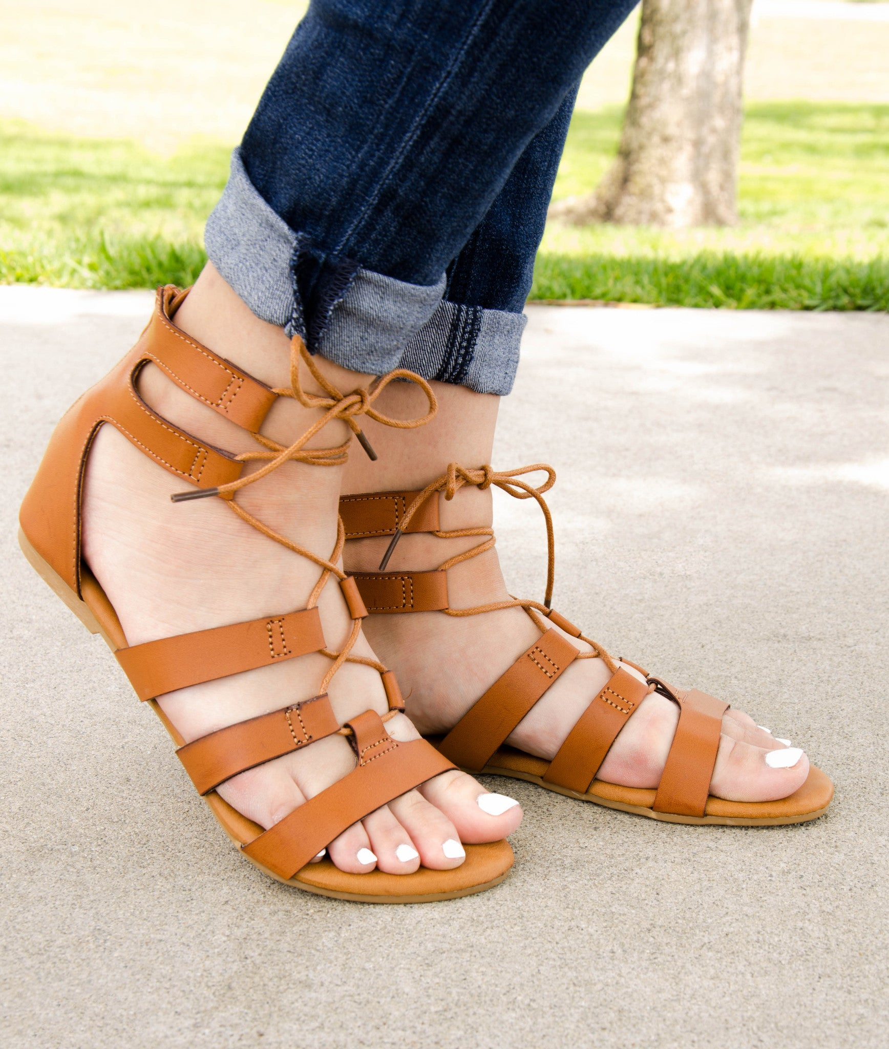 980ecb2432fd Gladiator Lace Up Flat Sandals – Chica s Shoetique