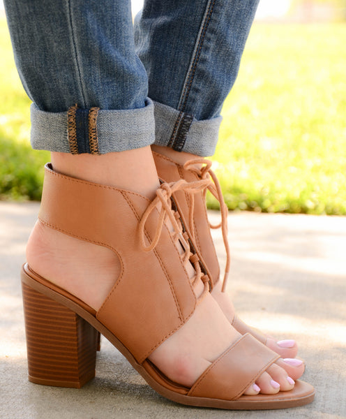 Soda Open Toe Ankle Cuff Lace Up Chunky Heel Sandals