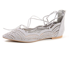 Lace Up Perforated Ballet Flats Gray