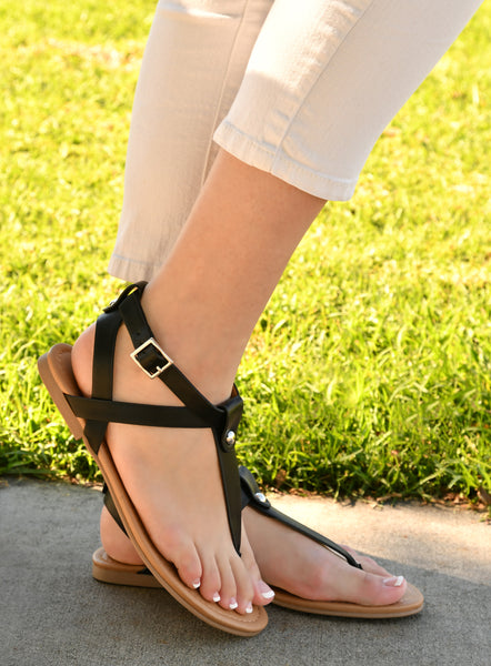 T Strap Thong Buckle Flat Sandals