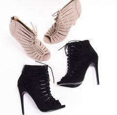 Lace Up Caged Heel
