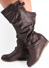 Ruched Knee High Wedge Buckle Boots