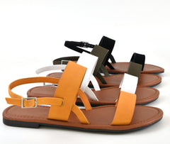 Double Band Strap Buckled Open Toe Flat Slingback Sandal