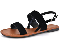 Double band flat womens sandals