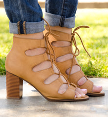 Lace Up Caged Chunky Heels In Tan