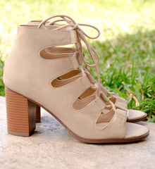 Lace Up Caged Chunky Heels In Lt Taupe