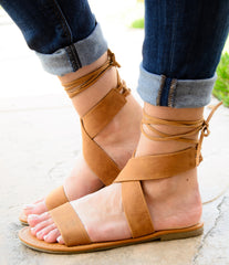Lace Up Back Flat Gladiator Sandals