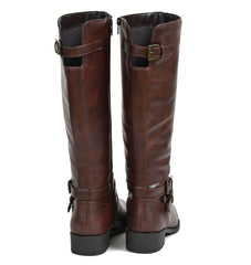 Buckle Strap Riding Knee High Flat Boots