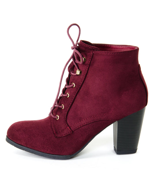 Vegan Suede Lace Up Suede Ankle Boots