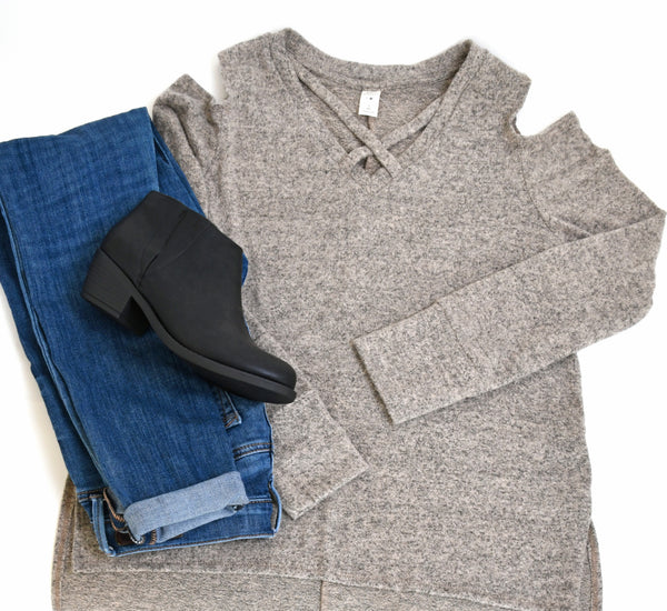 Cold Shoulder Marled Sweater Top