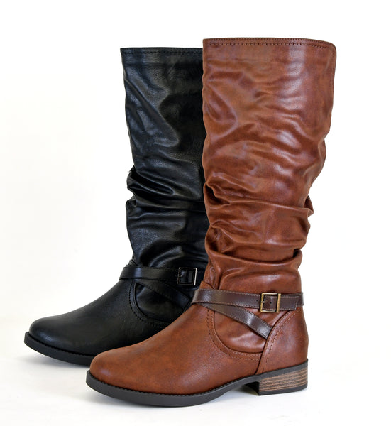 Women's Buckled Accent Ruched Knee High Riding Boots