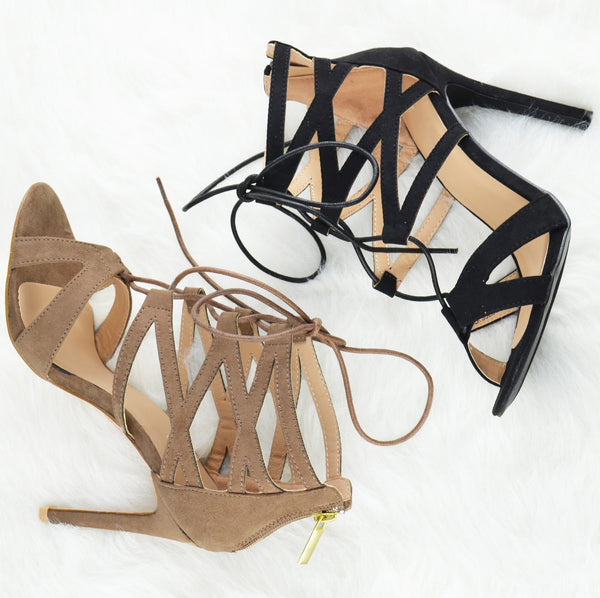 Lace Up Ankle Tie Stiletto Heels