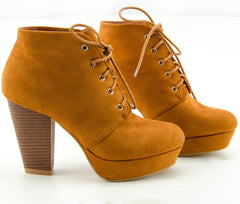 Platform Vegan Suede Ankle Lace Up Booties