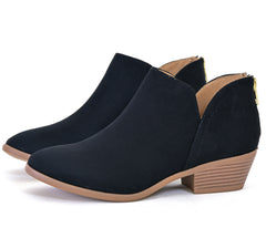 Soda Back Zip V-Cut Almond Toe Booties