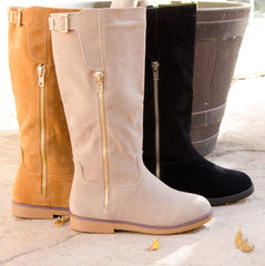 Suede Buckle Knee High Round Toe Boots
