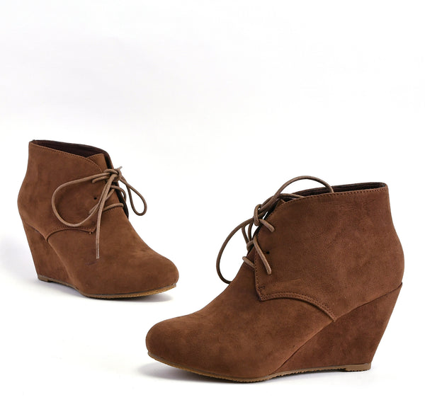 Suede Lace Up Almond Toe Booties