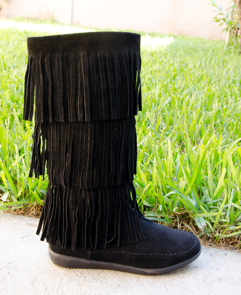 3 Layer Fringe Tall Moccasin Boots