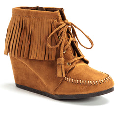 Ankle Fringe Wedge Booties