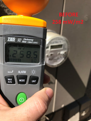 Smart Meter Cover RF Radiation Shield Before Measurements