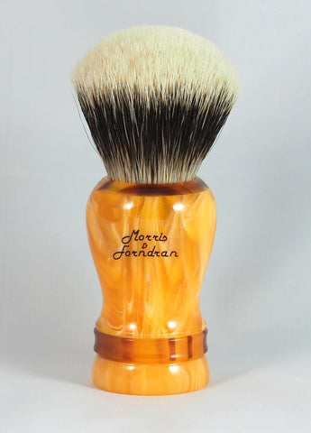Morris & Forndran Special Edition Emillion Shaving Brush in Amber resin with Tortoiseshell resin accents.