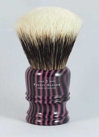 Morris & Forndran 2XL Finest Badger Shaving Brush with Purple/Black Stripe Handle