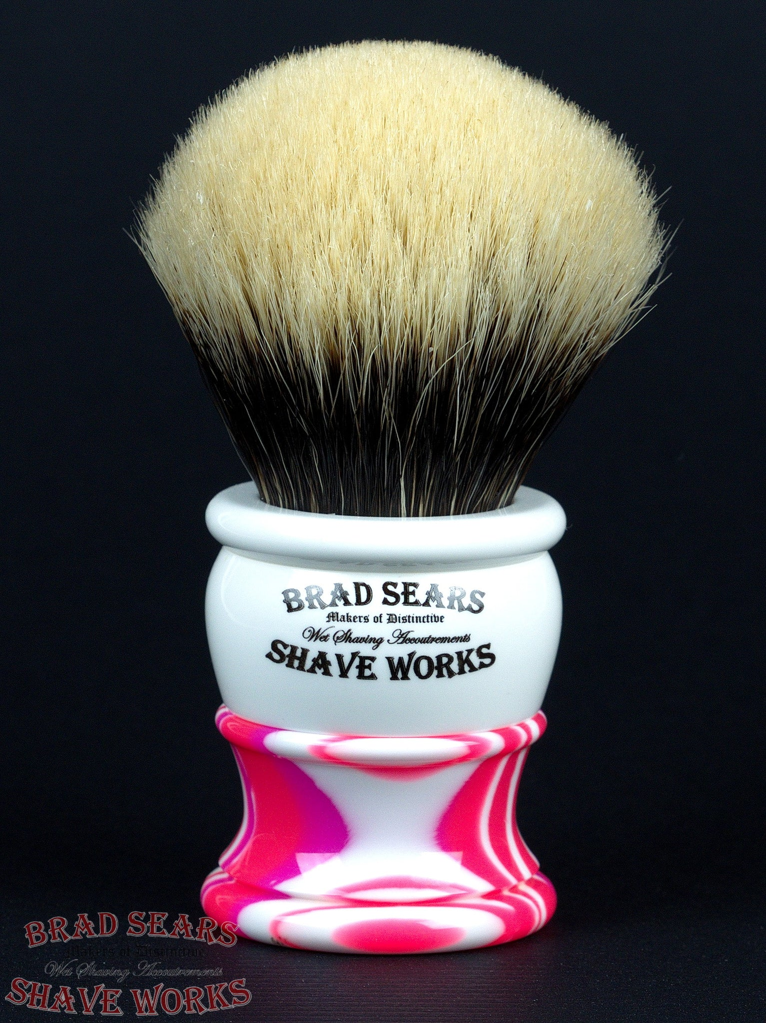Arley/30 Shaving Brush in Passionate Pink & Porcelain by Brad Sears ShaveWorks