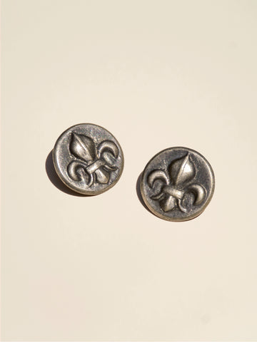 Fleur de Lis Embossed Real Brass Silver Button