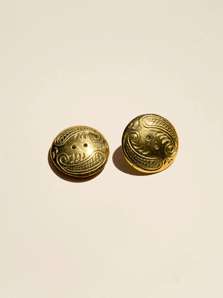 Domed Brass Paisley Button - Button Avenue