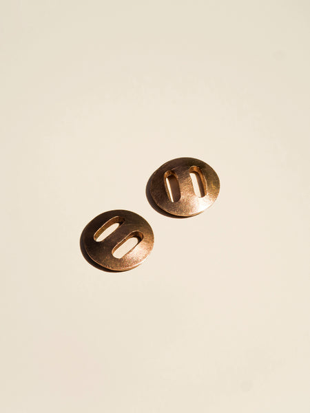 Brass Concave Button with Oval Holes - Button Avenue