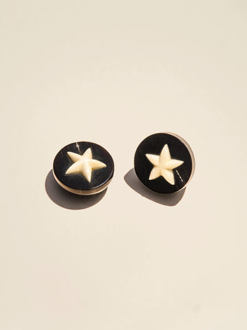 Bone Star Inlaid in Horn Shank - Button Avenue