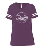 HWEC - Football Style - I Love Homies with Extra Chromies® - Ladies - Short Sleeve Tee