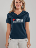 I Love Homies with Extra Chromies® - Ladies VNeck - Short Sleeve - Colored Tees