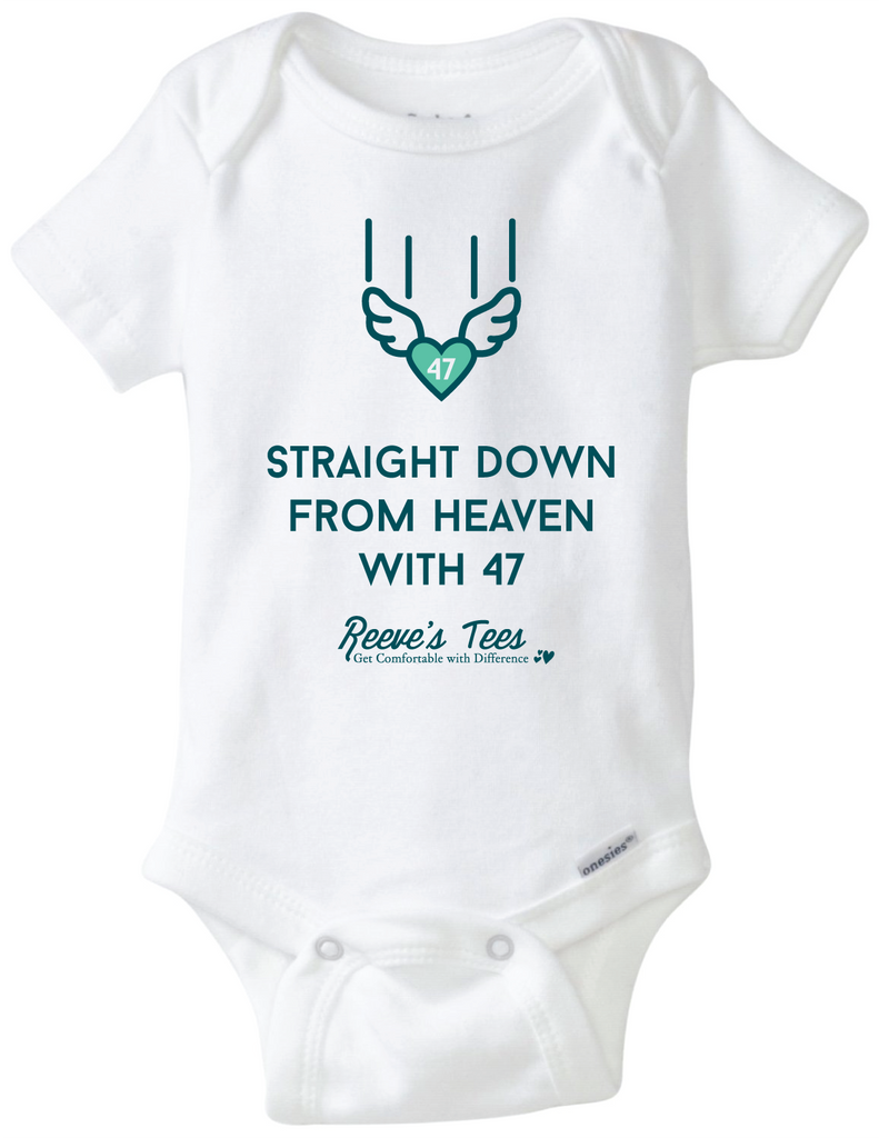 Straight Down from Heaven with 47 - New Baby Welcome Onesie