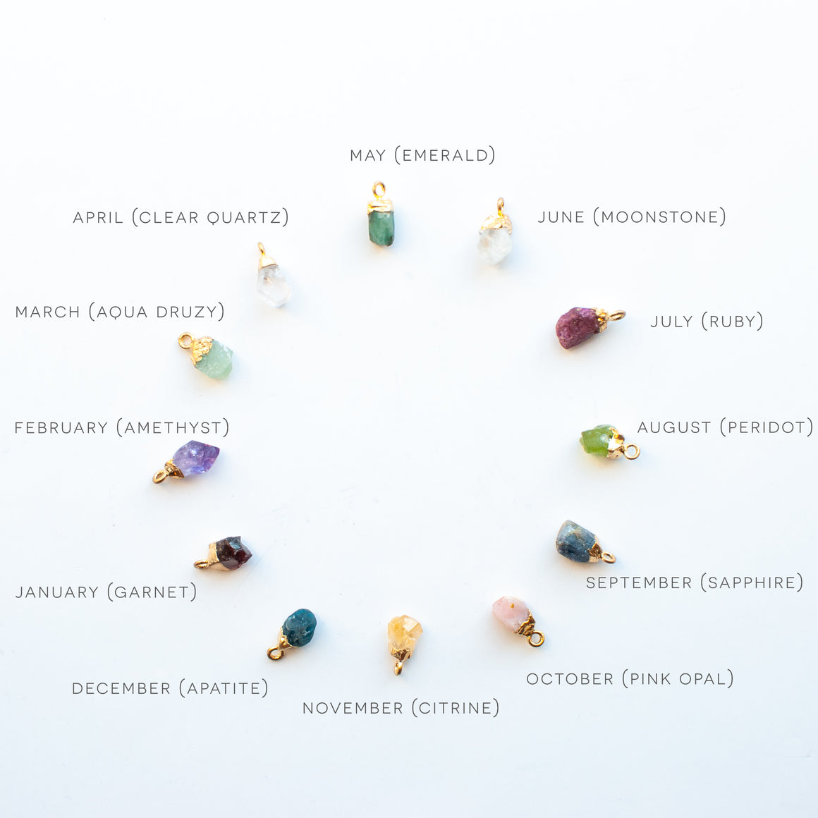 Raw Cut Birthstone - No Necklace Chain